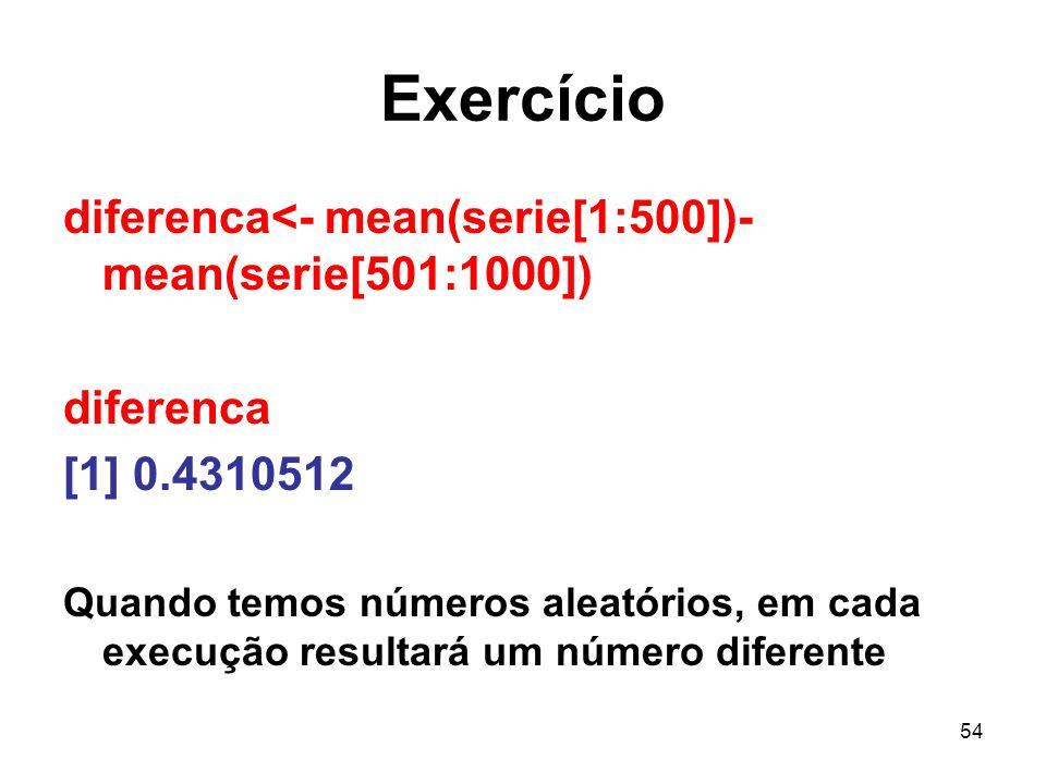 Exercício diferenca<- mean(serie[1:500])-mean(serie[501:1000])